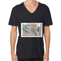ISKCON Temple V-Neck (on man) Tri-Blend Black Indiodyssey