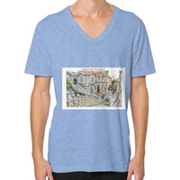 ISKCON Temple V-Neck (on man) Tri-Blend Blue Indiodyssey