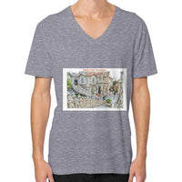 ISKCON Temple V-Neck (on man) Tri-Blend Grey Indiodyssey