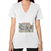 ISKCON Temple Women's V-neck Ash grey Indiodyssey