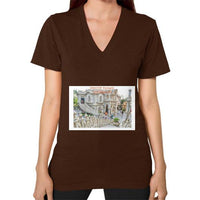 ISKCON Temple Women's V-neck Brown Indiodyssey