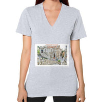 ISKCON Temple Women's V-neck Heather grey Indiodyssey