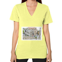 ISKCON Temple Women's V-neck Lemon Indiodyssey