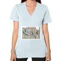 ISKCON Temple Women's V-neck Light blue Indiodyssey