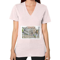ISKCON Temple Women's V-neck Light pink Indiodyssey