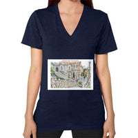 ISKCON Temple Women's V-neck Navy Indiodyssey