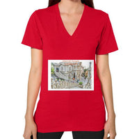 ISKCON Temple Women's V-neck Red Indiodyssey