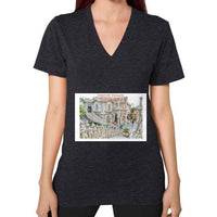 ISKCON Temple Women's V-neck Tri-Blend Black Indiodyssey