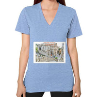 ISKCON Temple Women's V-neck Tri-Blend Blue Indiodyssey