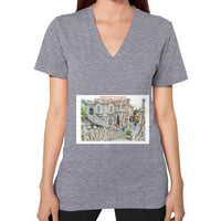 ISKCON Temple Women's V-neck Tri-Blend Grey Indiodyssey