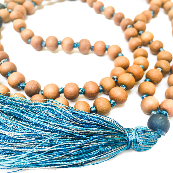 Sandalwood and Druze Marker Beads 108 Mala 8mm Sandalwood beadsHand-knotted with silk threads