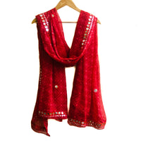 Faux mirror red scarf
