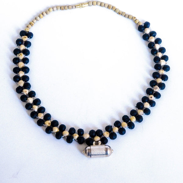 Black Tulsi Woven Necklace with Kavach