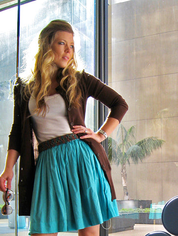 White Top With Blue Skirt And Brown Sweater
