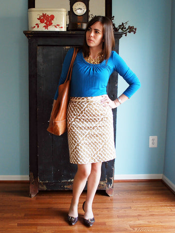 Blue Top With Brown Patter Skirt