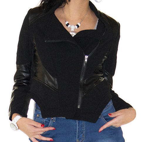 Stylish Leather Detailed Black Jacket