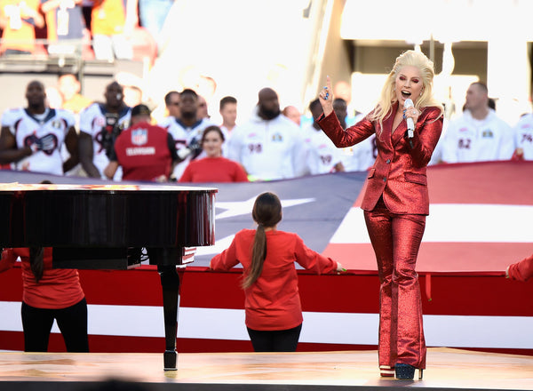 Lady Gaga singing the National Anthem at the Super Bowl 50