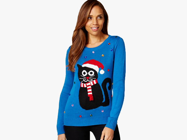 Macy's Embellished Holiday Cat Sweater