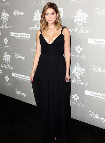 Ashley Benson Black Dress With Plunging Neckline