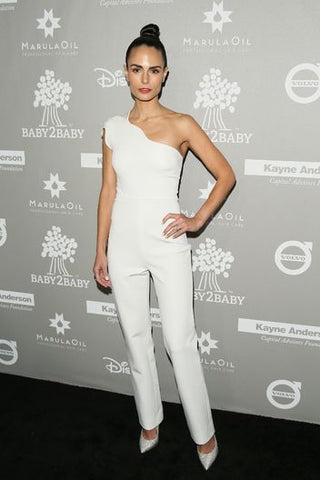 Jordana Brewster One Shoulder White Jumpsuit