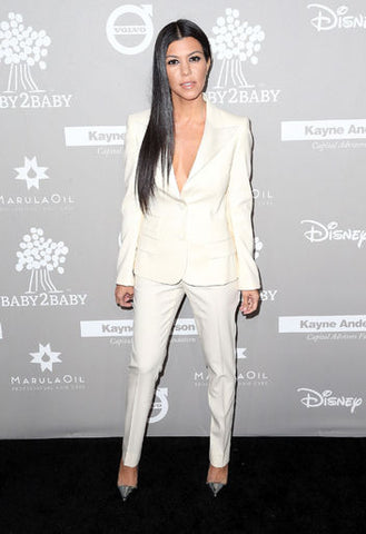 Kourtney Kardashian White Pants and Blazer Outfit