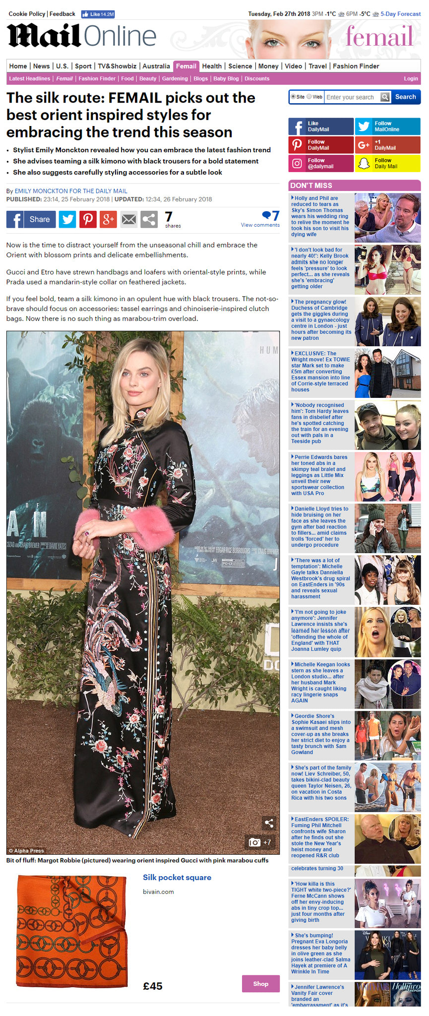 Bivain pocket square on dailymail.co.uk