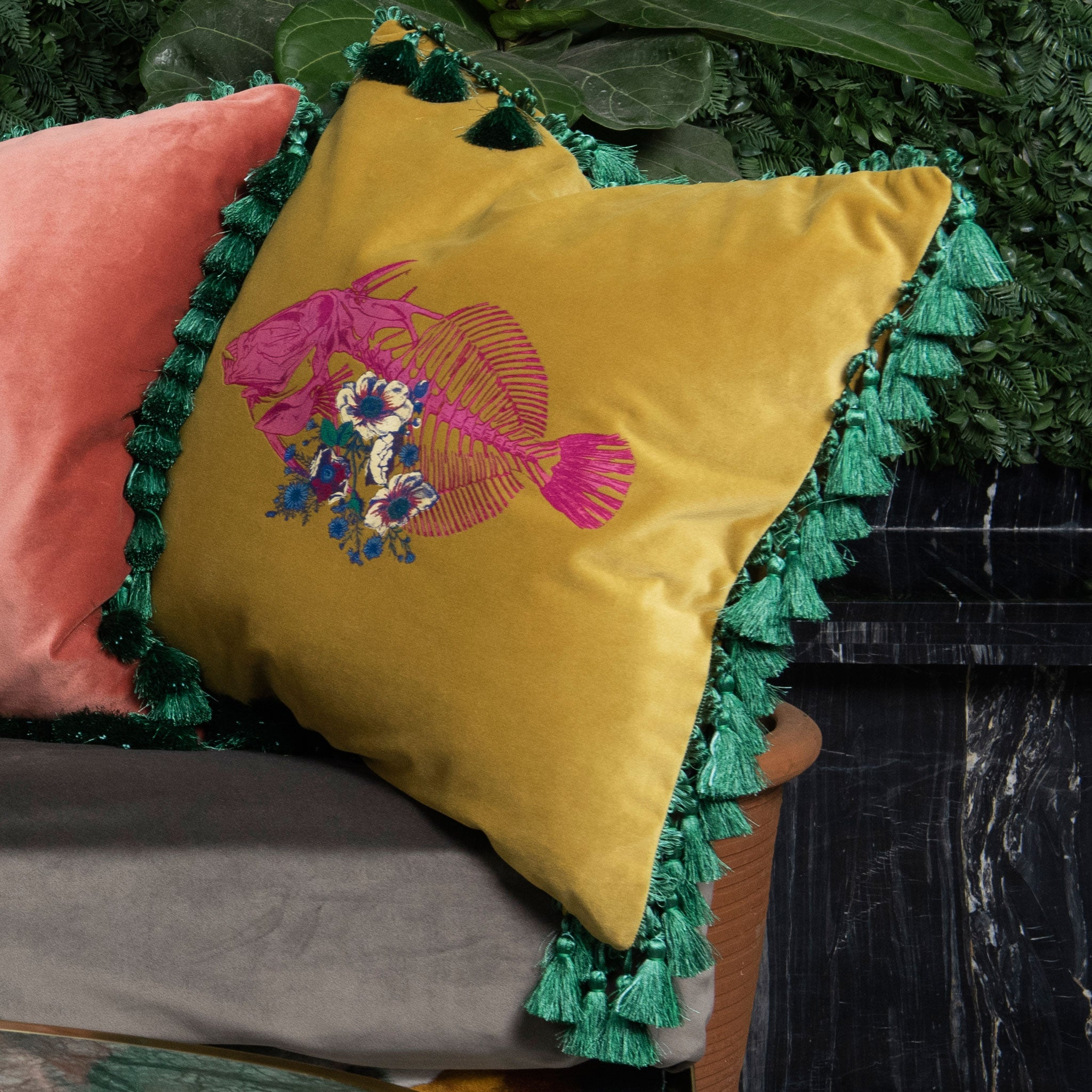 Fish Frida Velvet Cushion