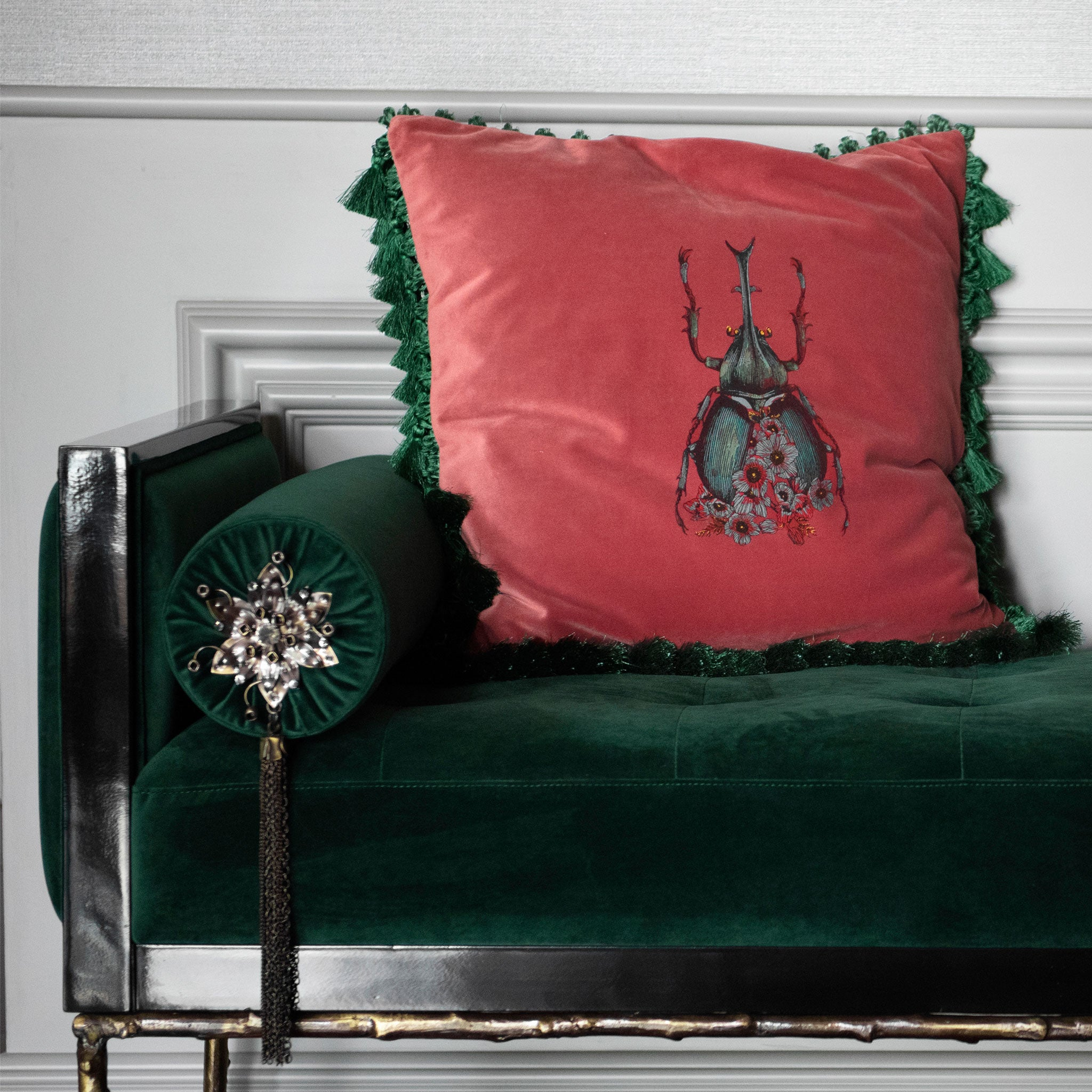 Scarab Velvet Cushion