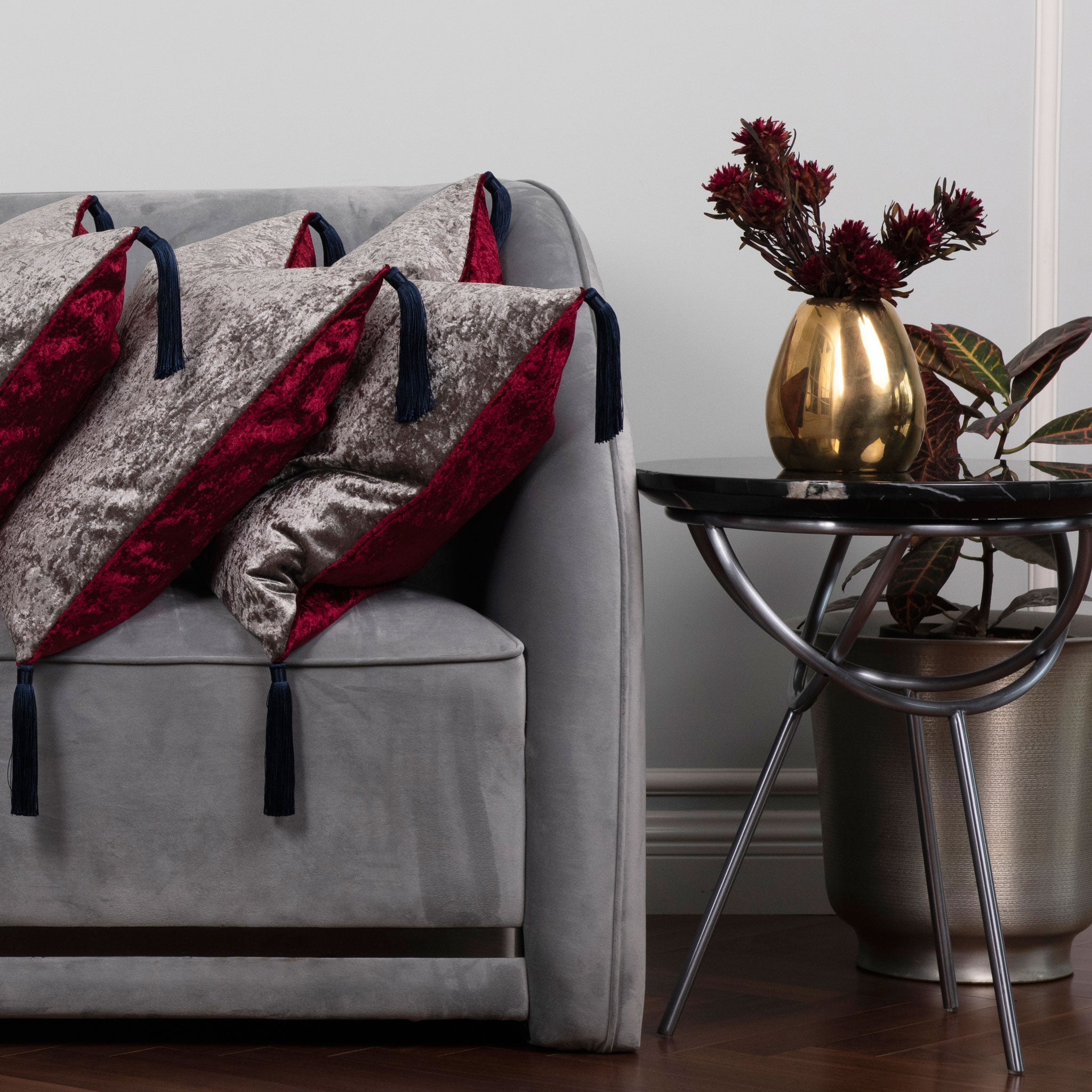 Silver & Red Velvet Cushion