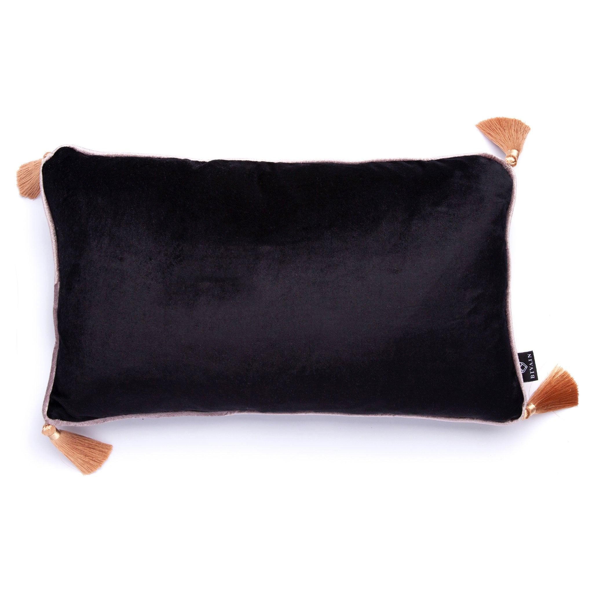 Black Velvet Rectangular Cushion with Tassels