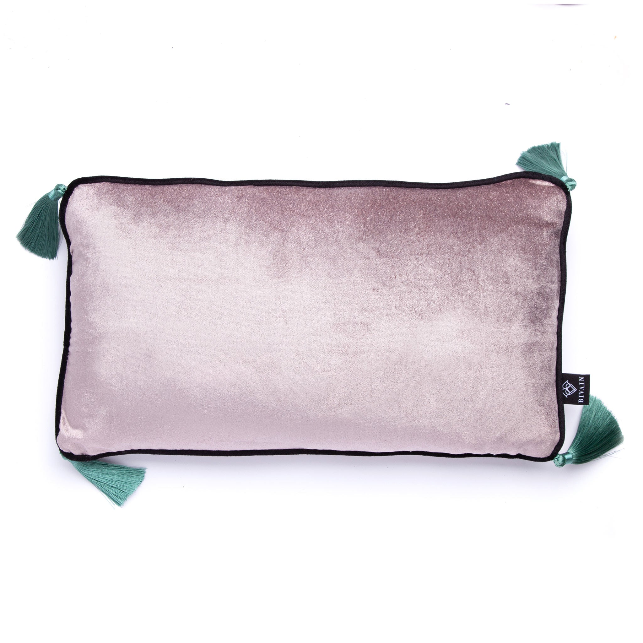 Silver Velvet Rectangular Cushion with Jade Tassels