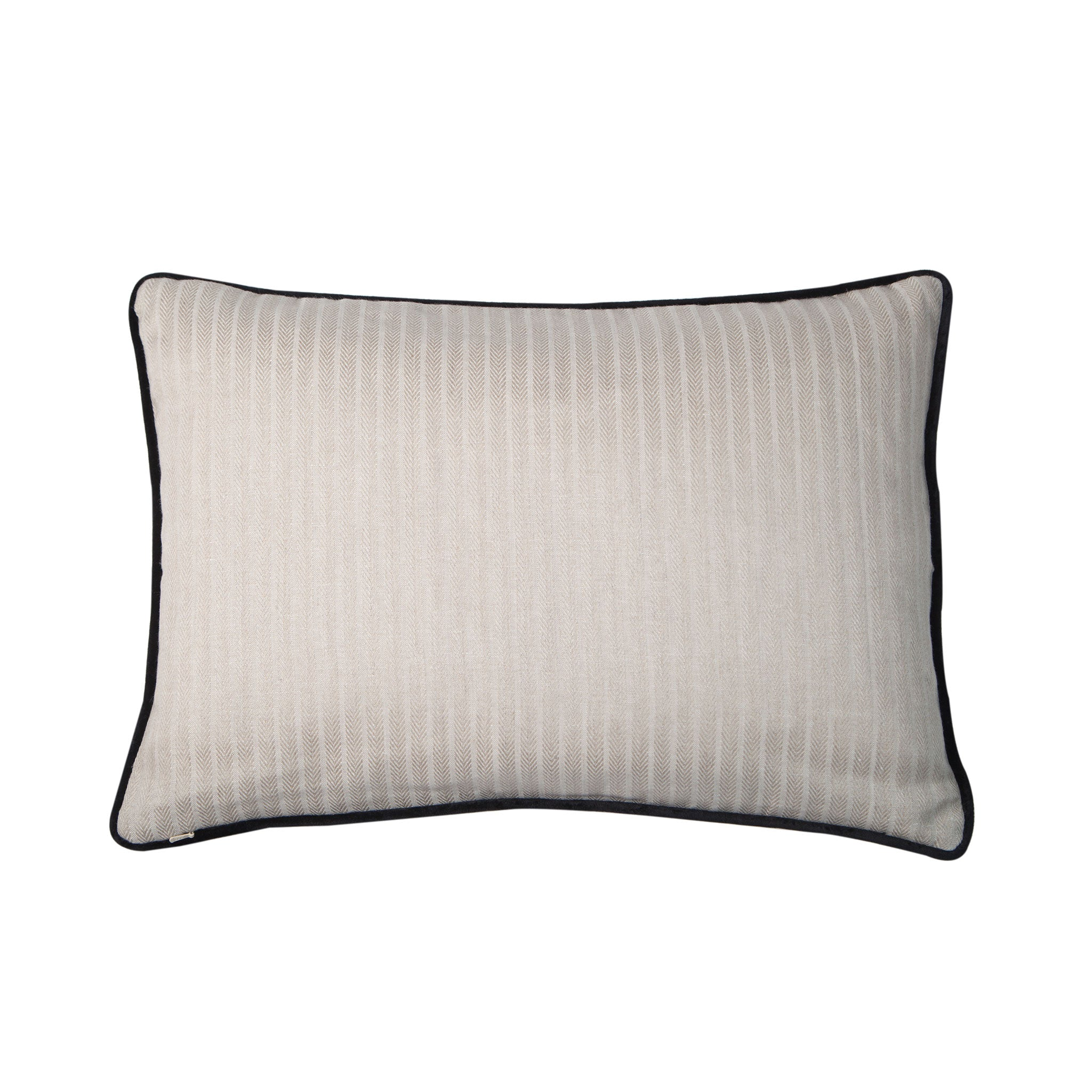 Cream Linen Rectangular Cushion with Black Velvet Piping