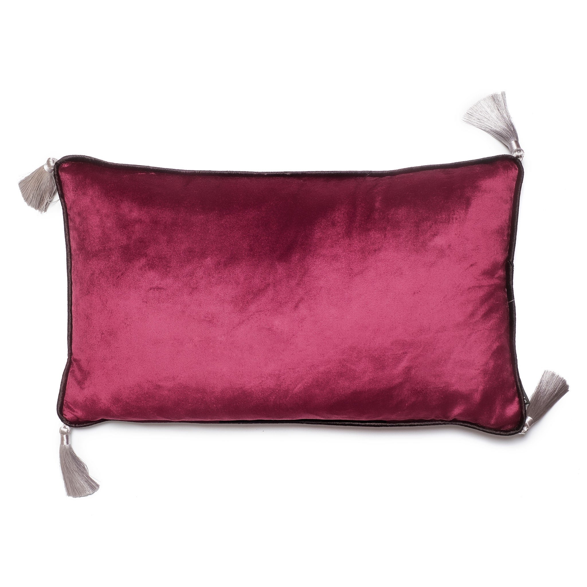 Dark Purple Velvet Rectangular Cushion with Tassels