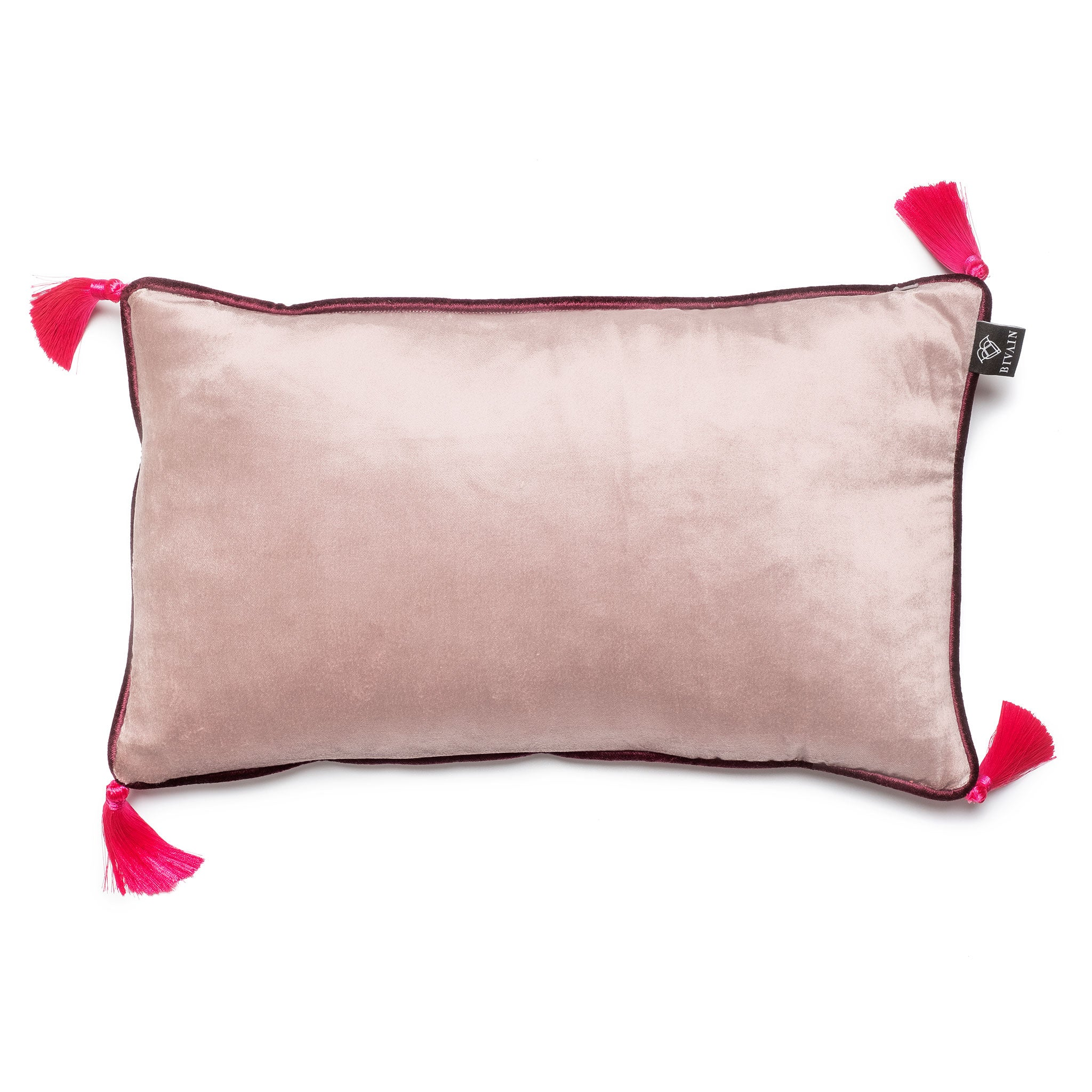 Silver Velvet Rectangular Cushion with Pink Tassels