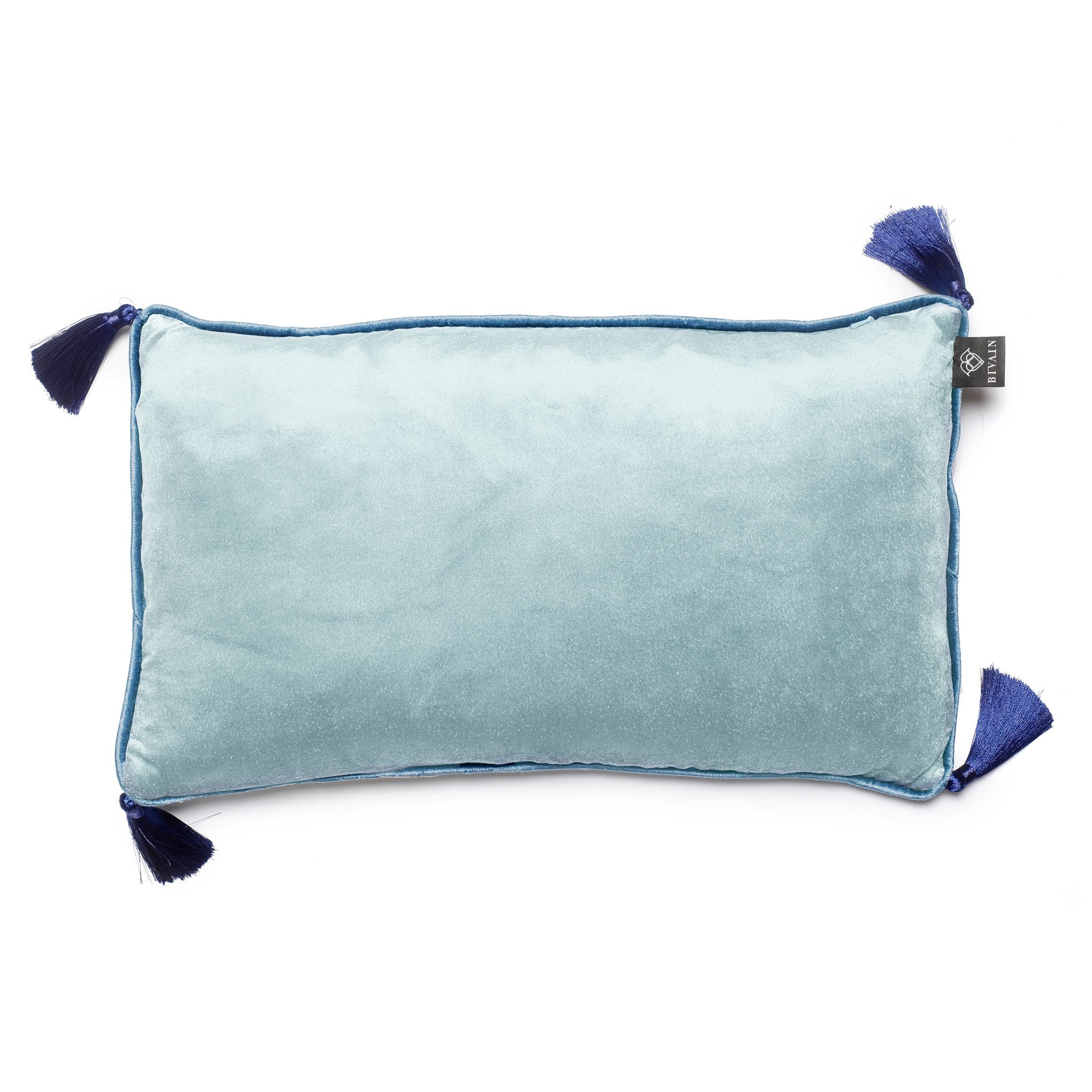 Ice Blue Jade Velvet Rectangular Cushion with Tassels