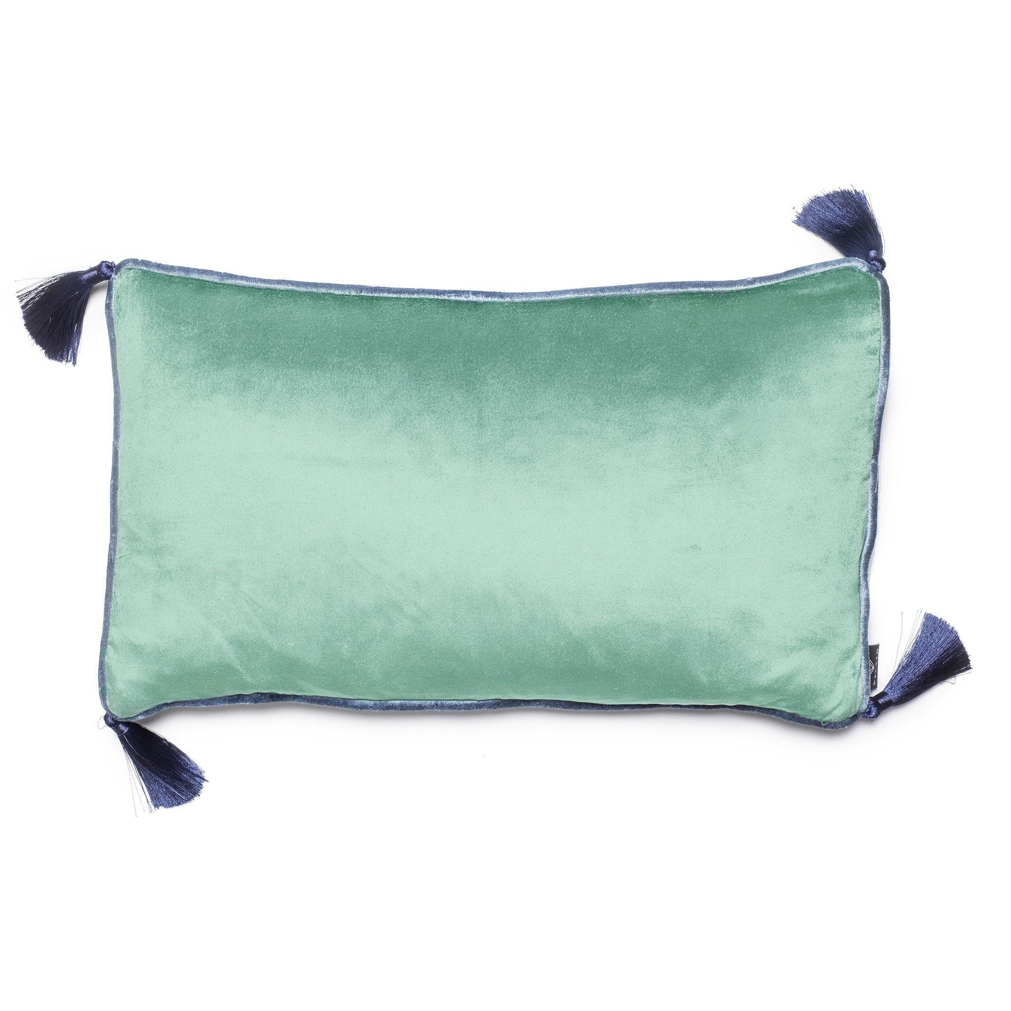 Jade Velvet Rectangular Cushion with Tassels