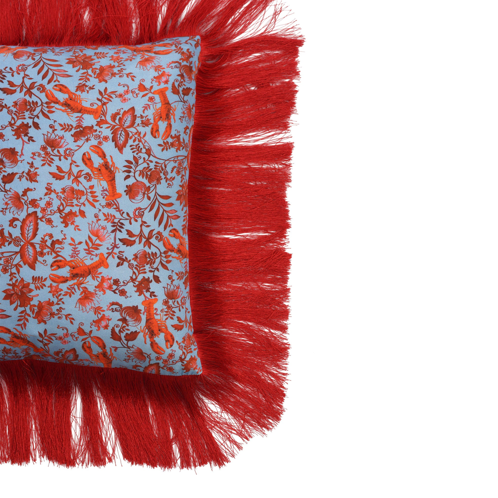 Lobster Chintz Silk Cushion