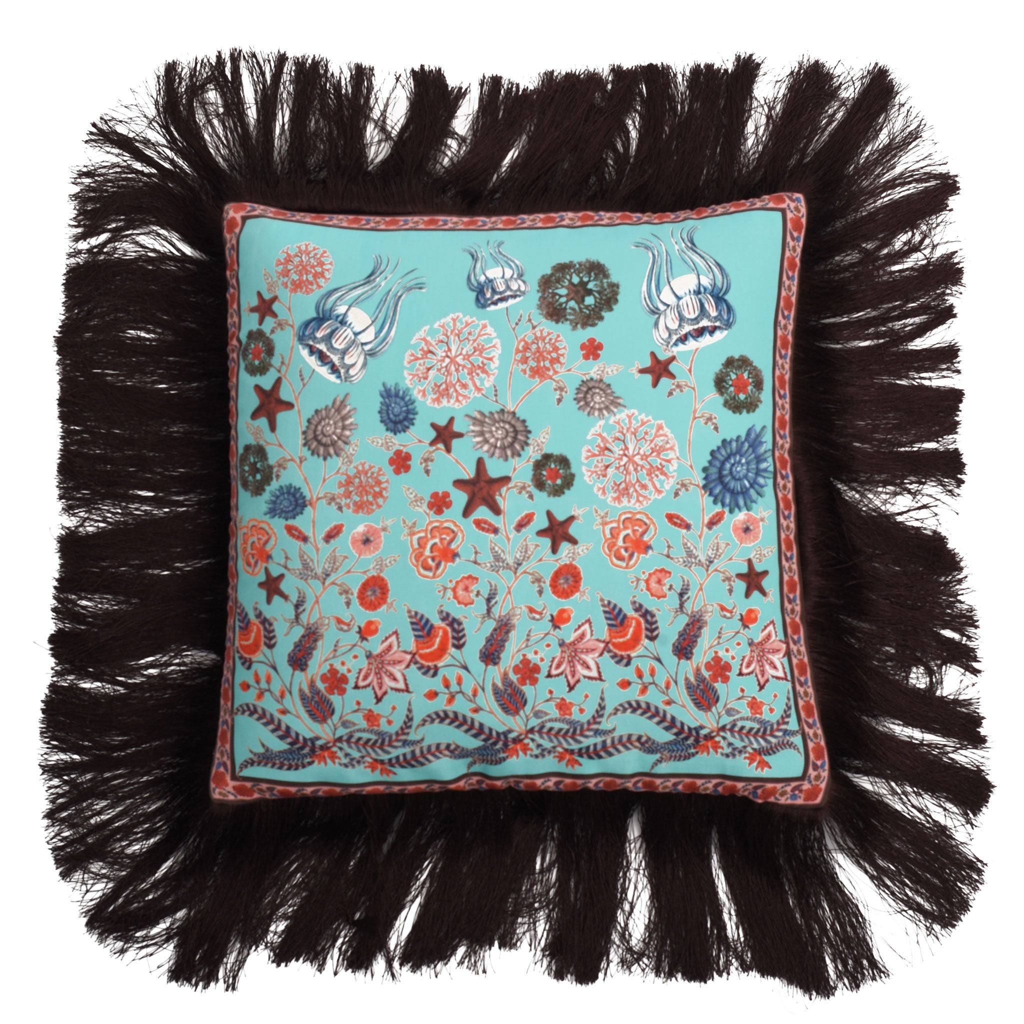 Aqua Chintz Silk Cushion