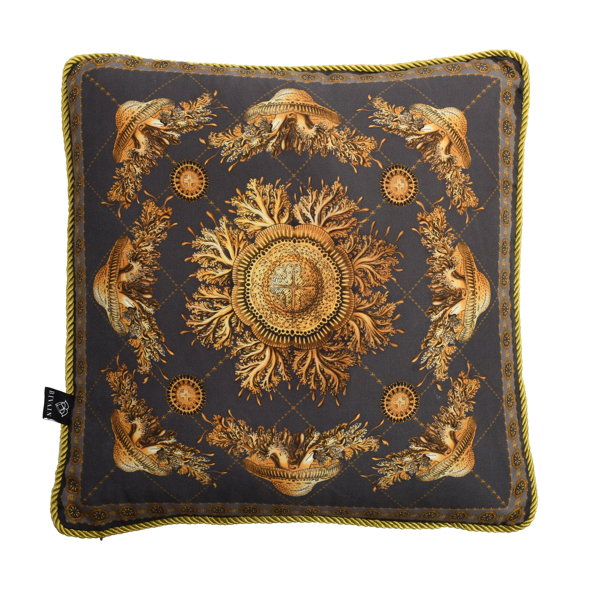 Neptunian Grey Silk Cushion