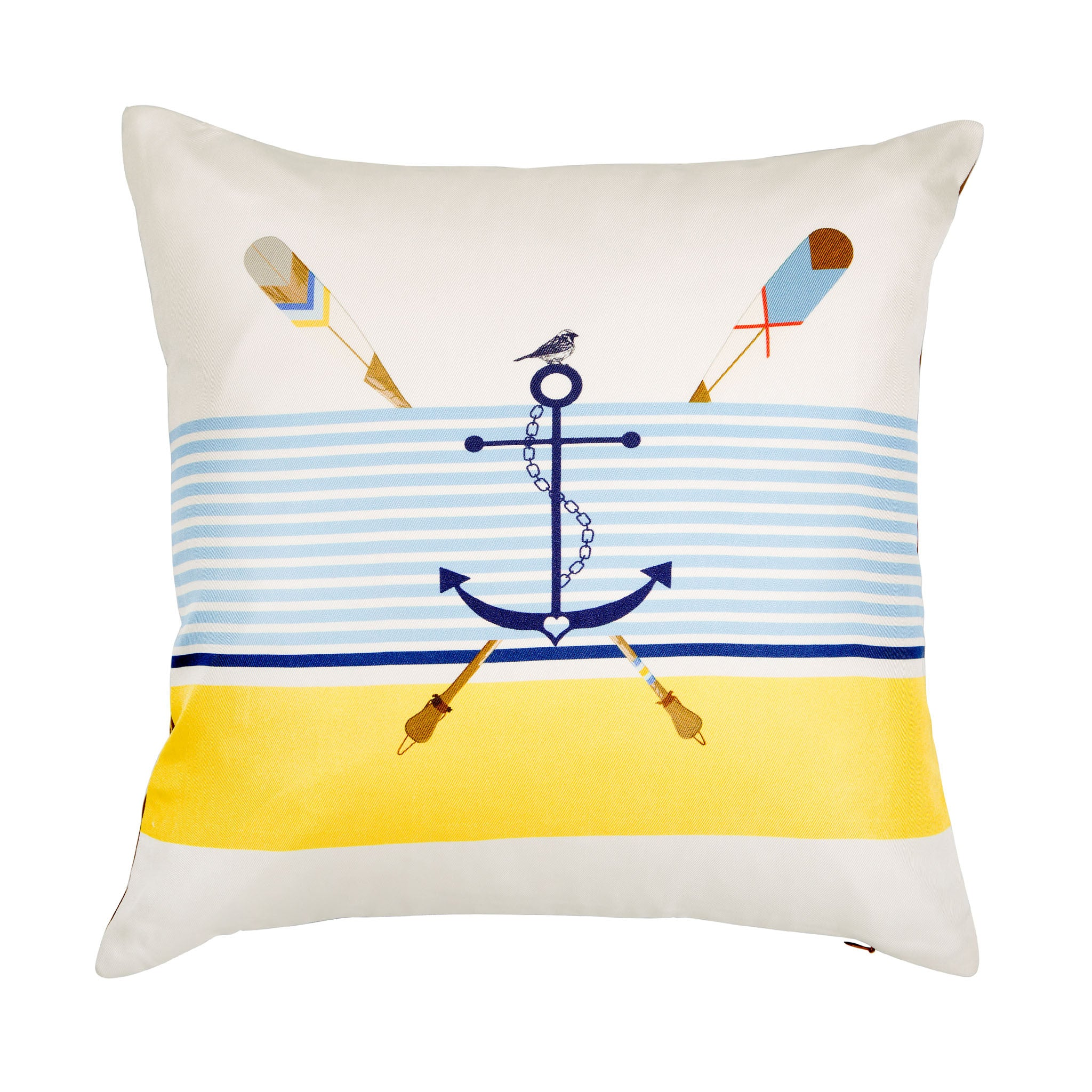 Silk twill and faux leather white nautical and anchor print cushion - Bivain - 1
