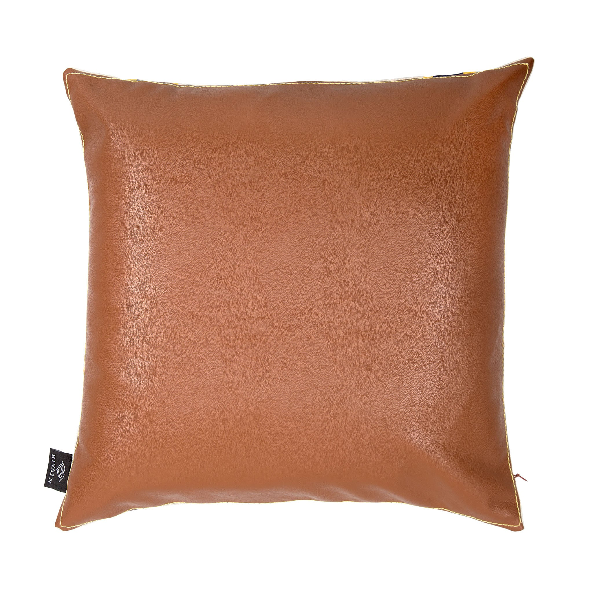 Silk twill and faux leather orange striped cushion - Bivain - 3