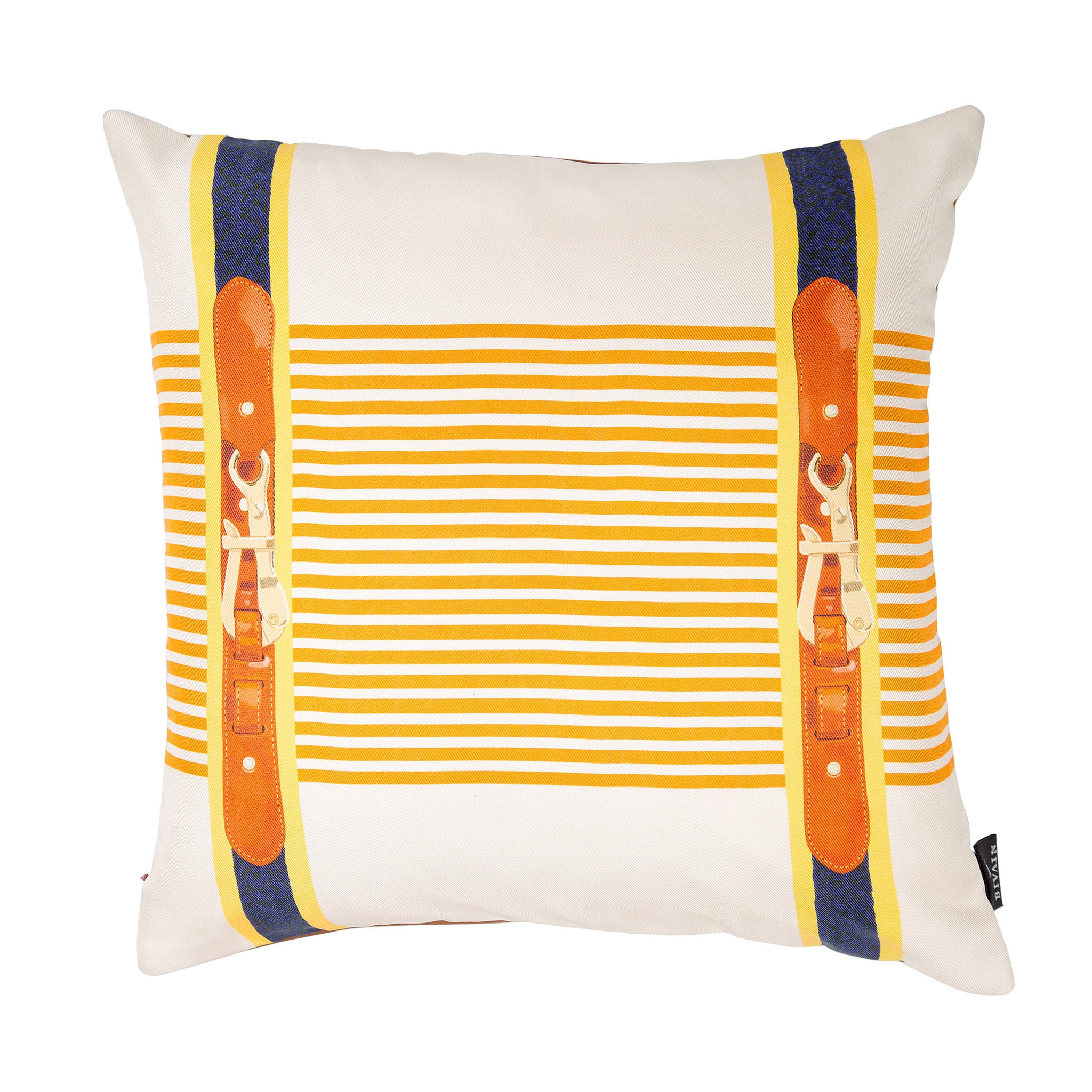 Silk twill and faux leather orange striped cushion - Bivain - 1