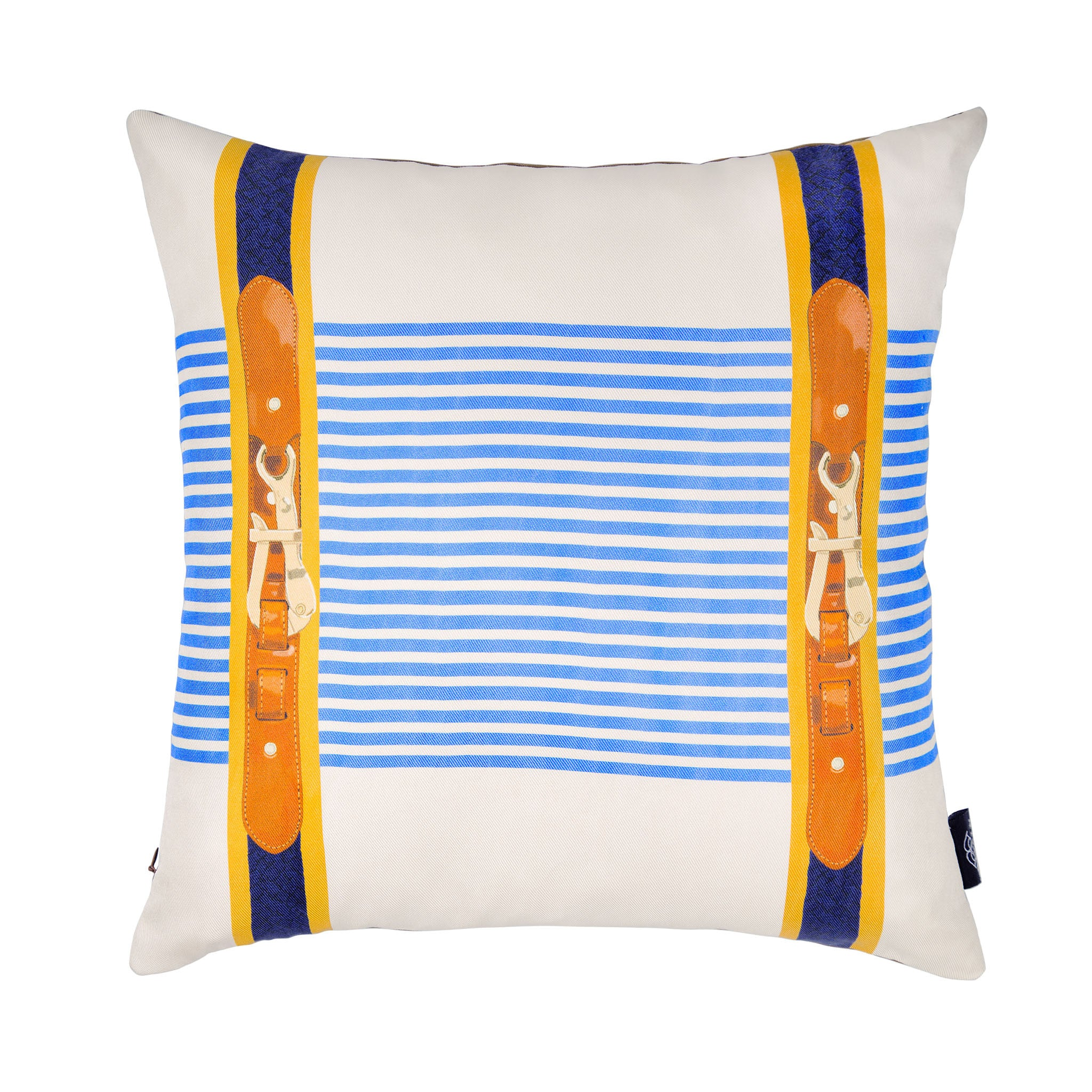 Silk twill and faux leather blue striped cushion - Bivain - 1