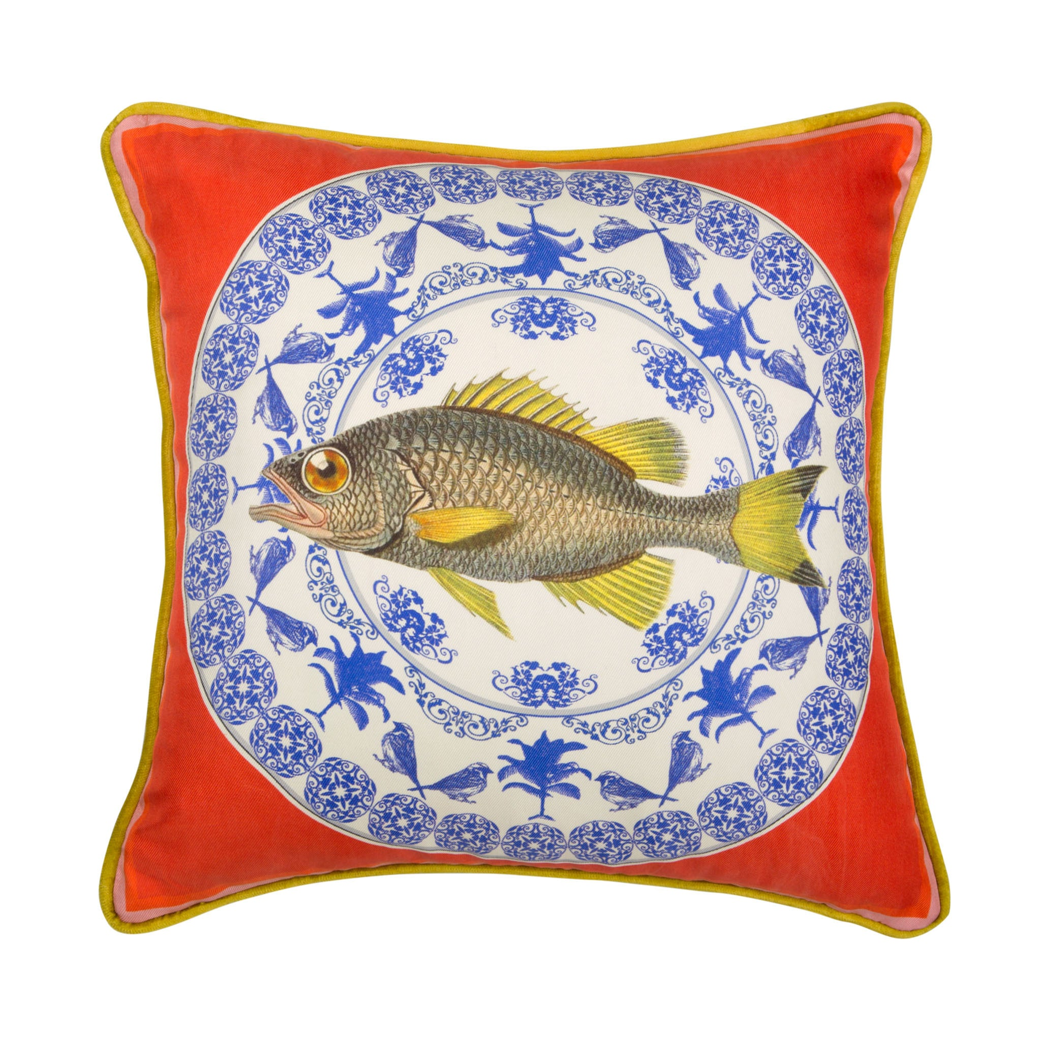 Silk twill and velvet red porcelain and fish print cushion - Bivain - 1