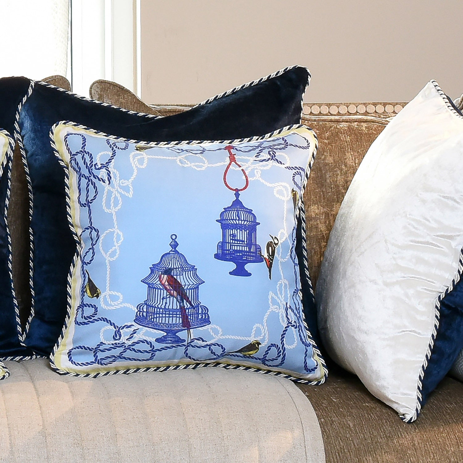 Silk twill and velvet blue birdcage print cushion - Bivain - 2
