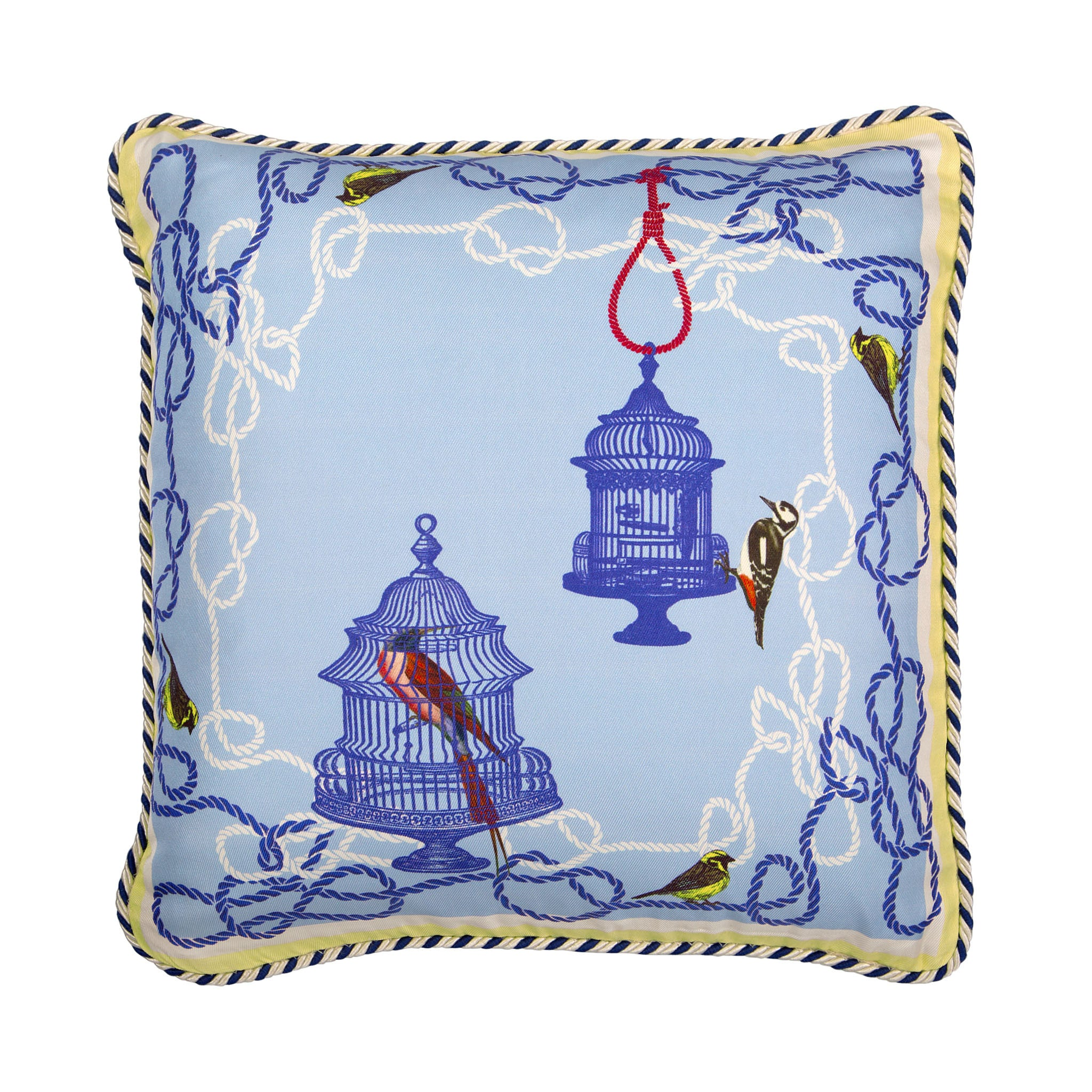 Silk twill and velvet blue birdcage print cushion - Bivain - 1
