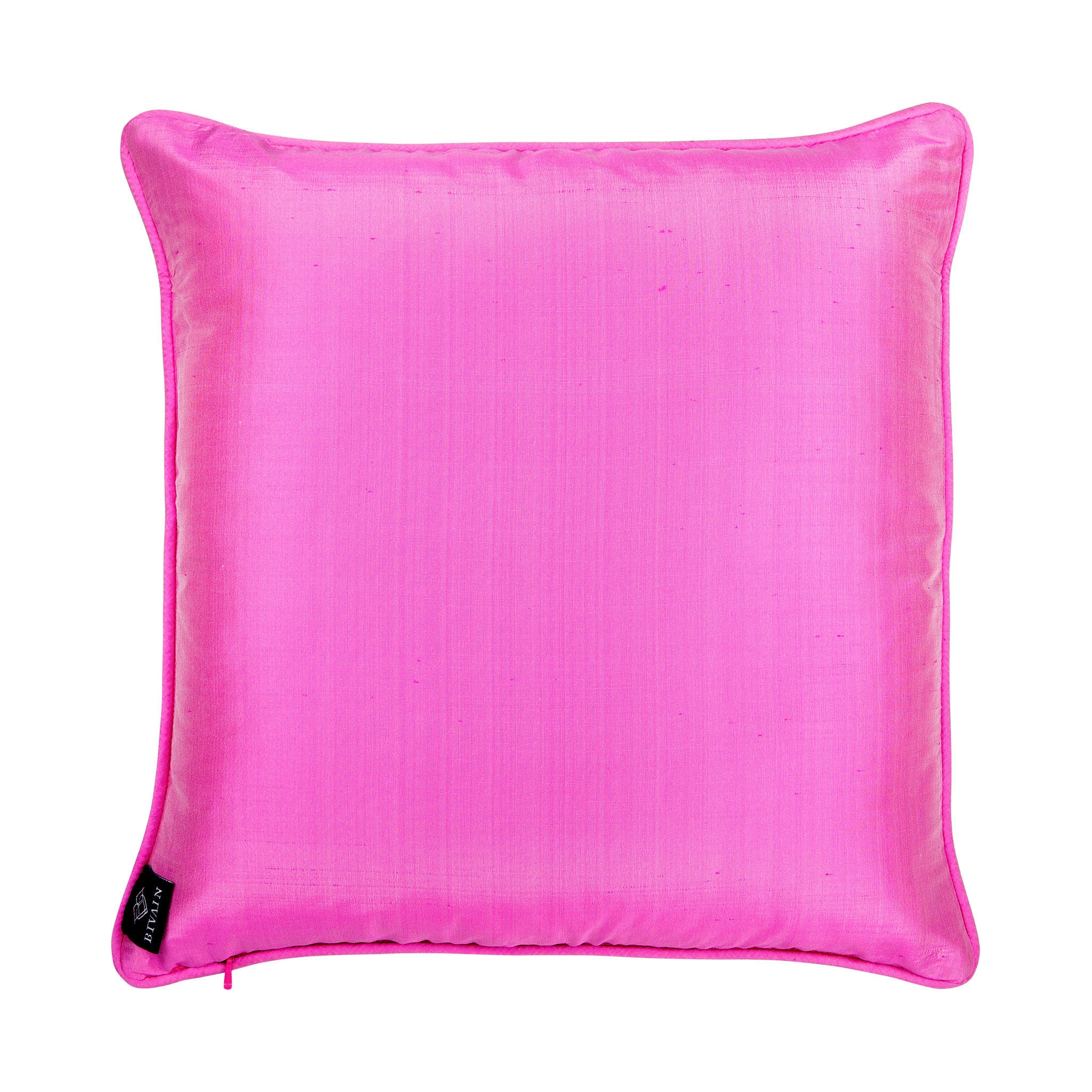 Silk twill pink & yellow mosaic-print cushion - Bivain - 3