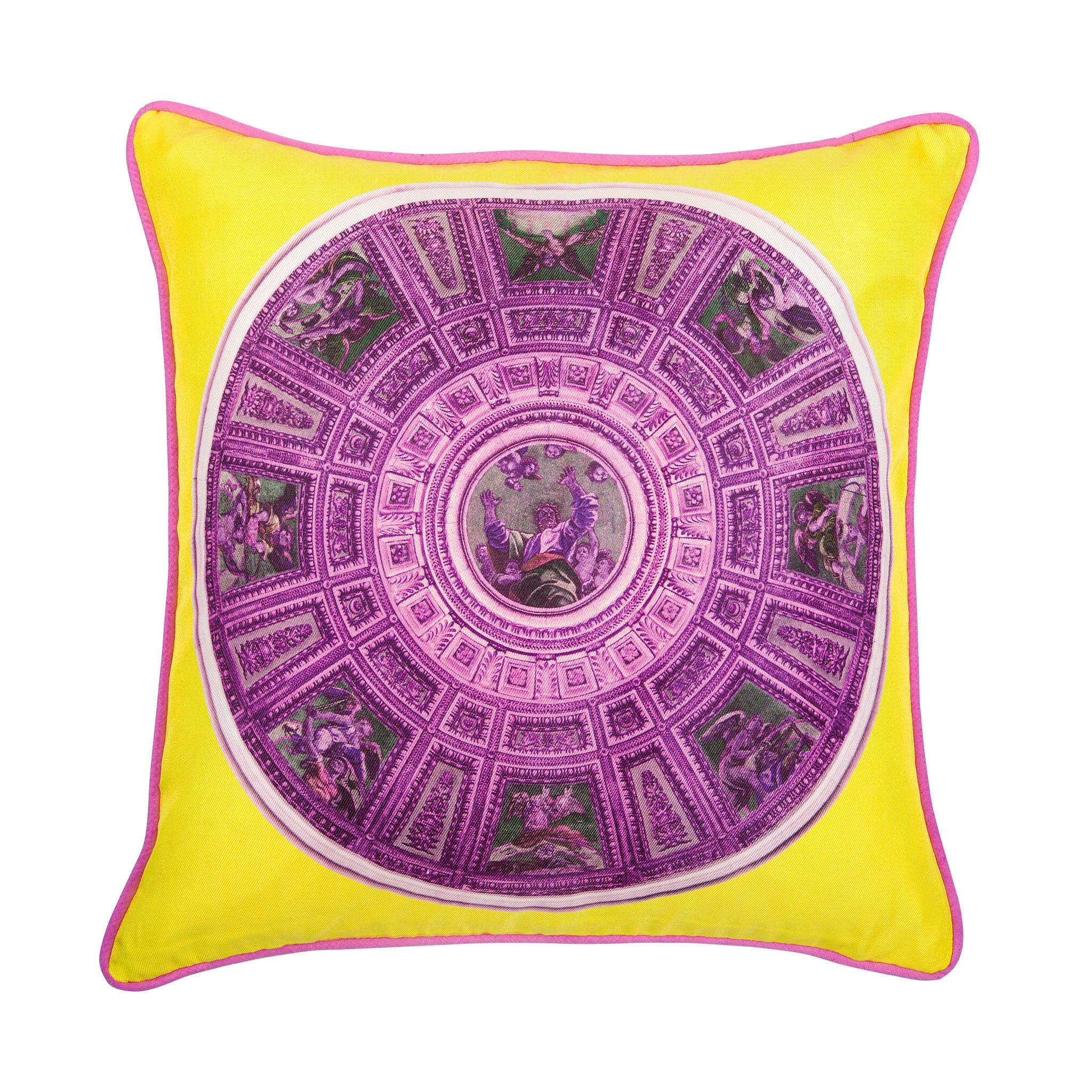 Silk twill pink & yellow mosaic-print cushion - Bivain - 1