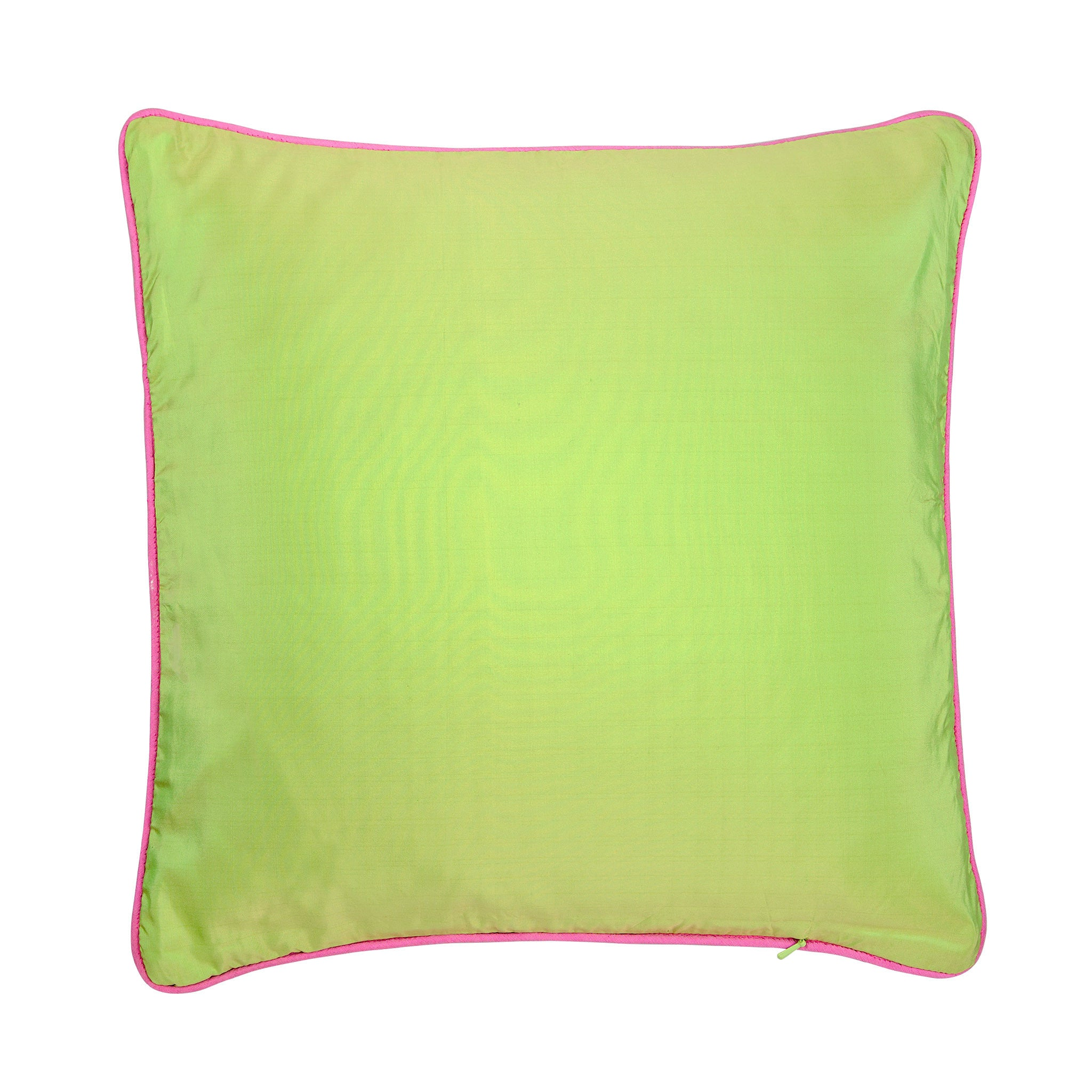 Silk twill pink & green mosaic print cushion - Bivain - 3