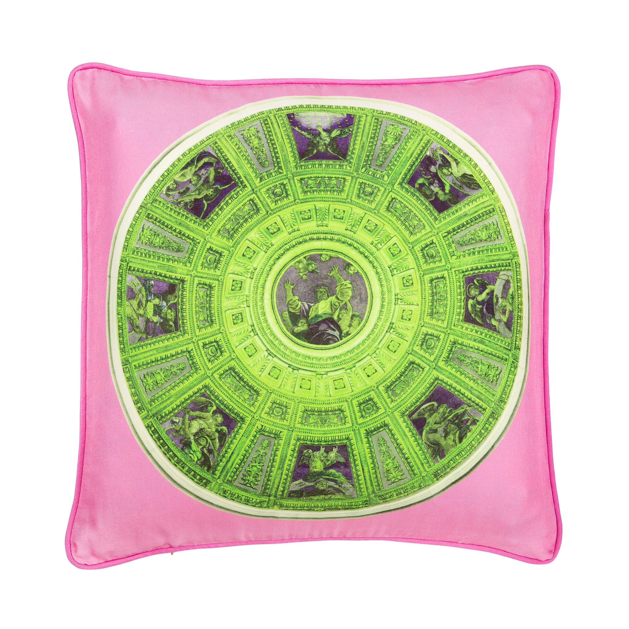 Silk twill pink & green mosaic print cushion - Bivain - 1